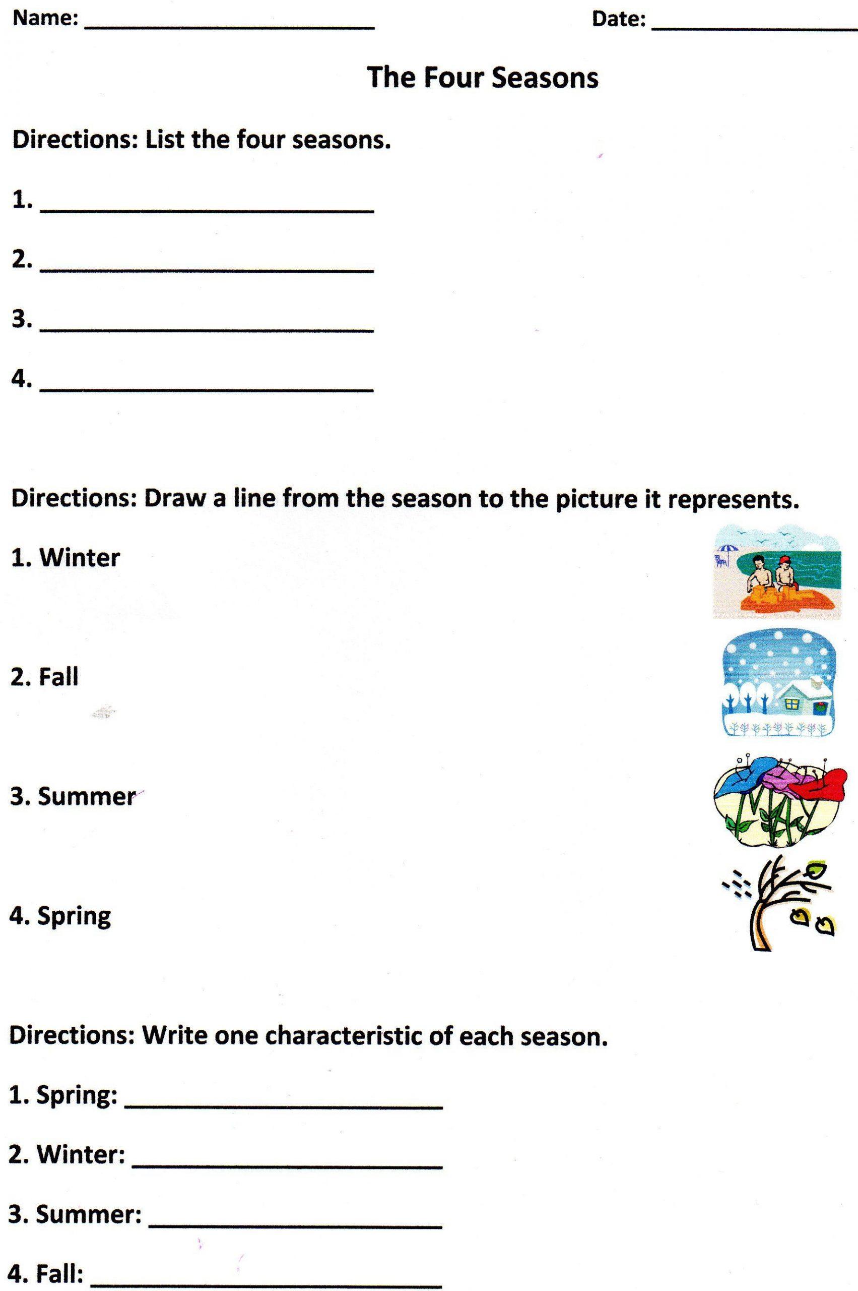 Science Worksheet for 1st Grade the Four Seasons assessment for K 1