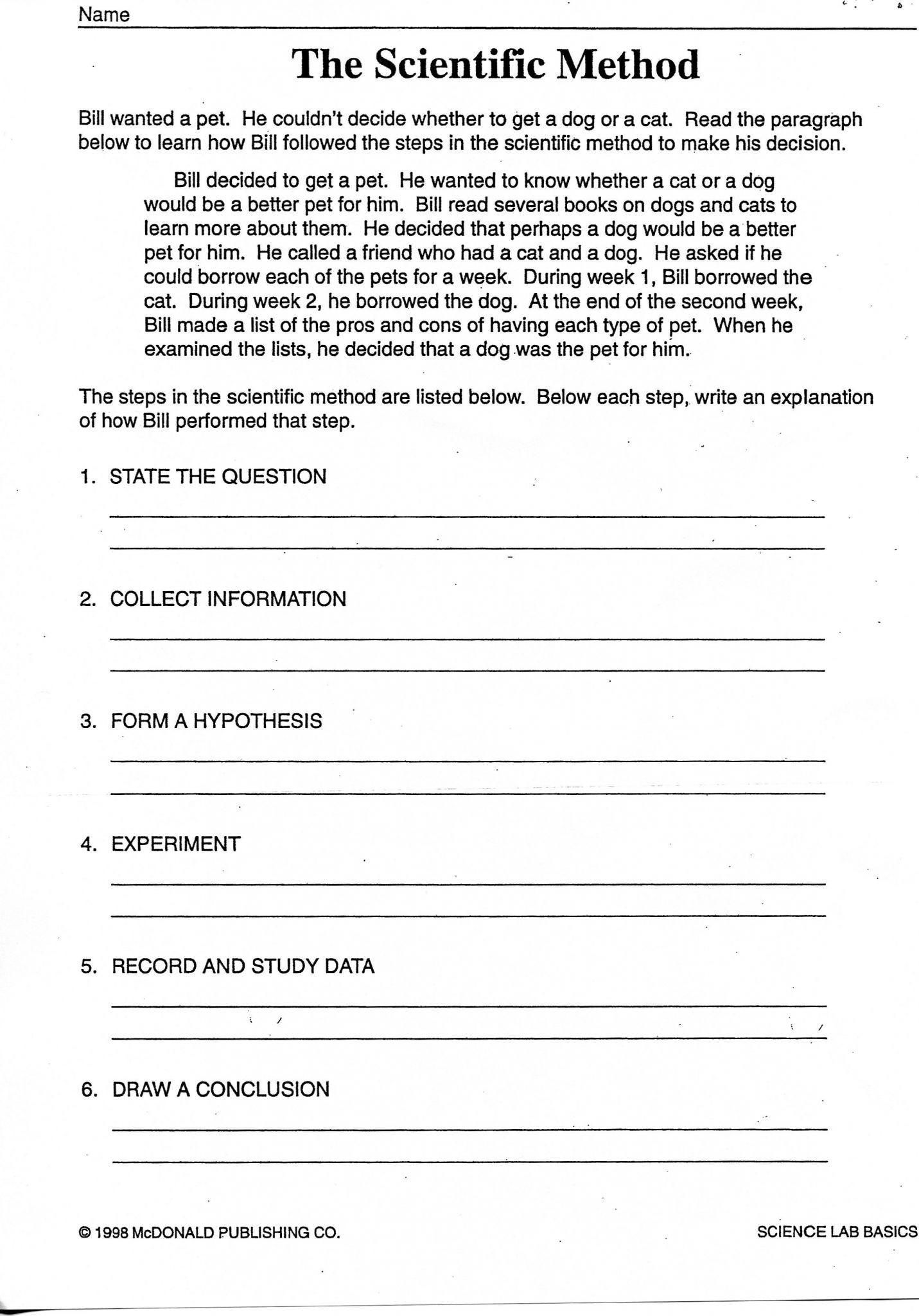 Scientific Method Examples Worksheet 6th Grade Science Worksheets
