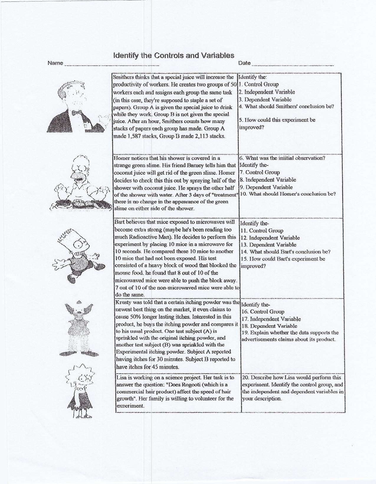 Scientific Method Examples Worksheet Scientific Method Practice Worksheet Answers Nidecmege