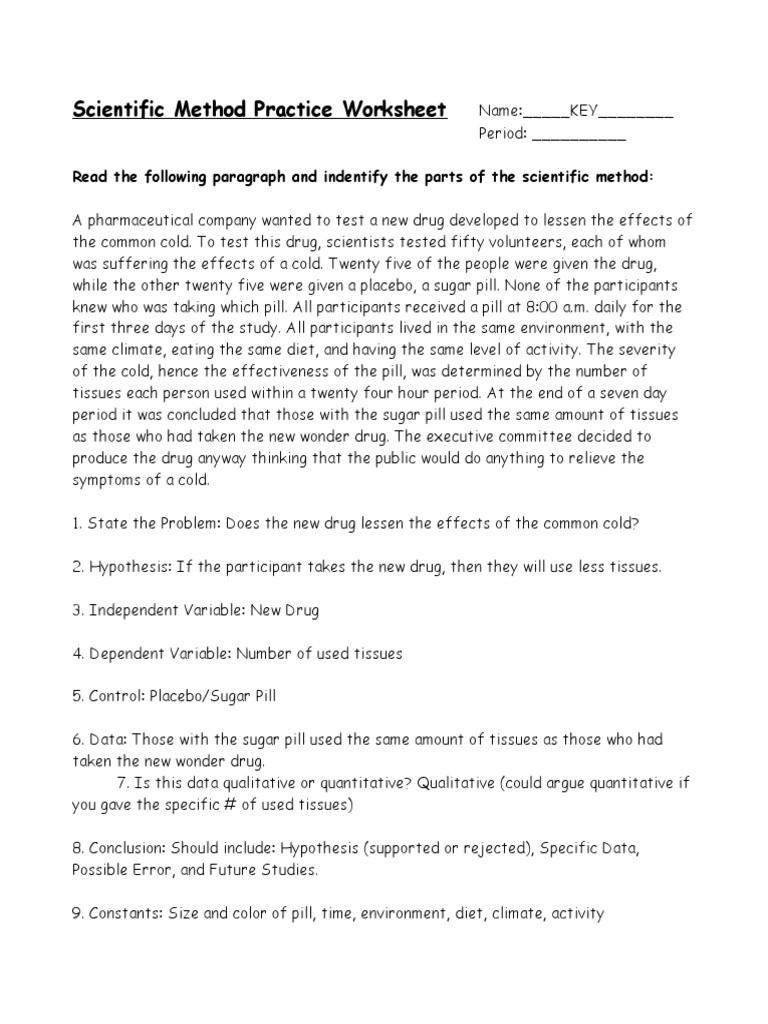 Scientific Method Examples Worksheet Scientific Method Practice Worksheet Key