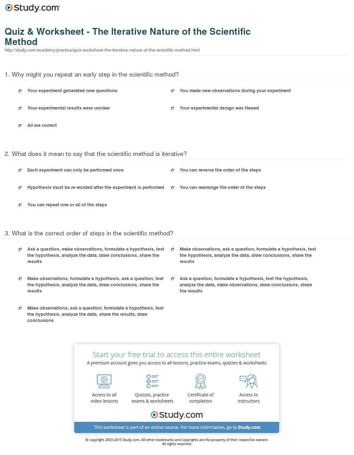 Scientific Method Examples Worksheet Scientific Method Worksheet College Scientific Method