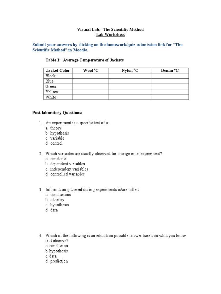 Scientific Method Story Worksheet Answers Scientific Method Lab Worksheet