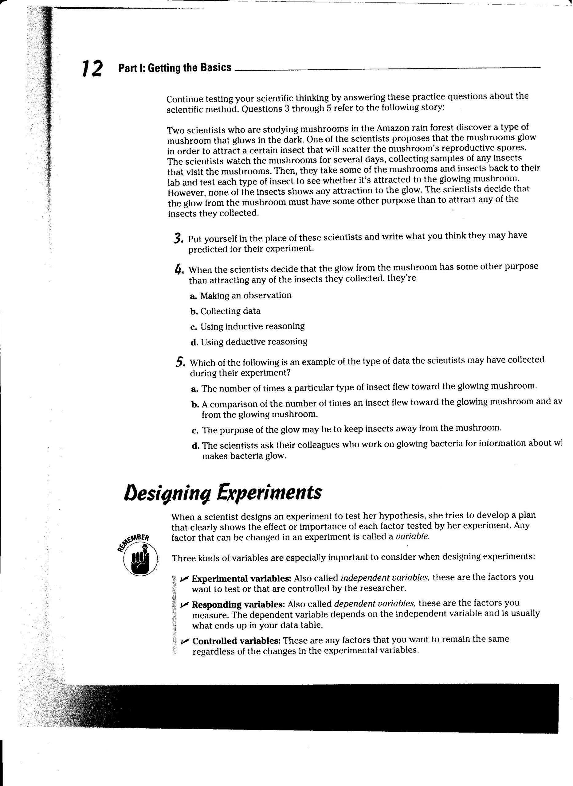 Scientific Method Story Worksheet Answers Week 2 Scientific Method and Lab 1