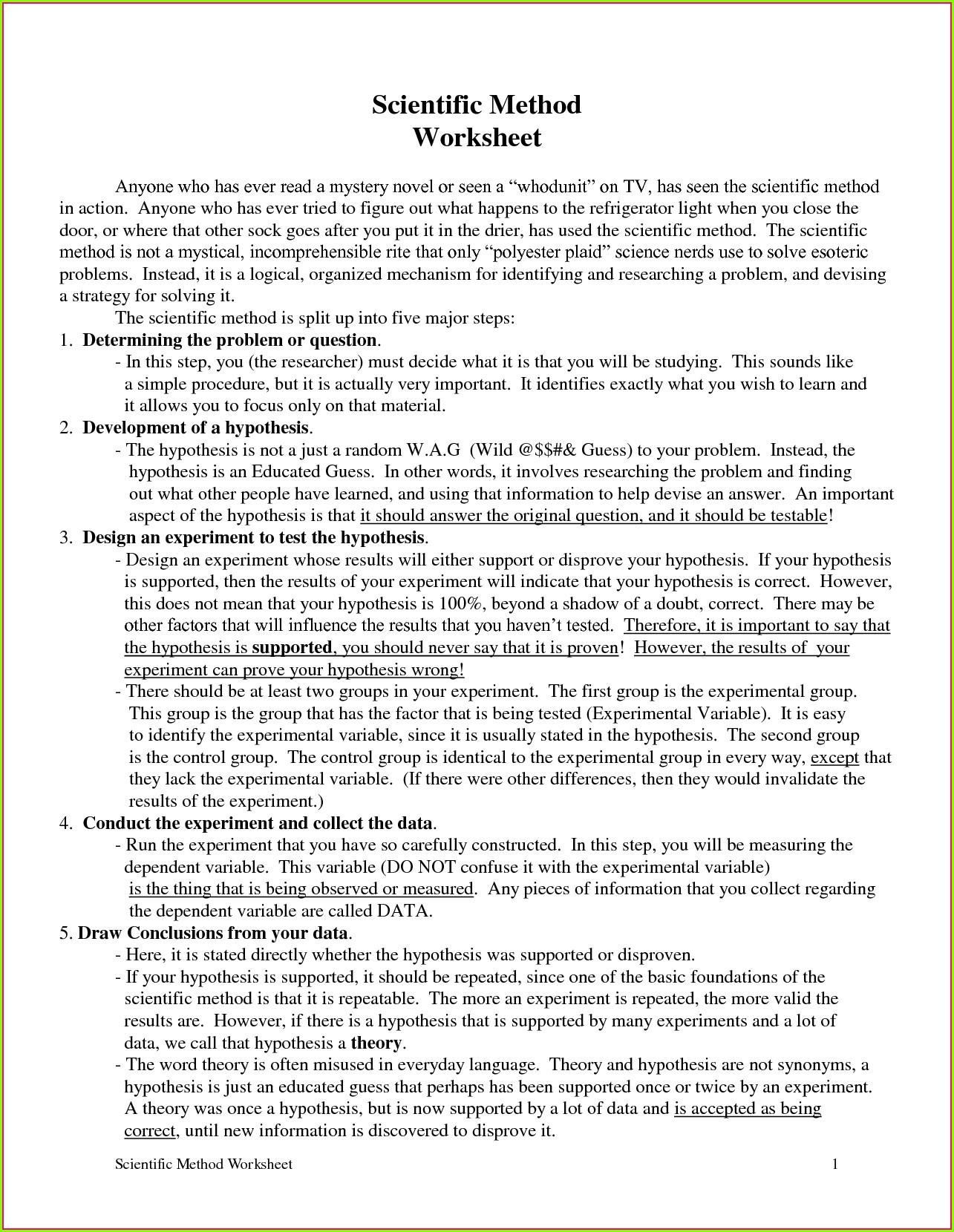 Scientific Method Worksheet High School Exploring the Scientific Method Worksheet