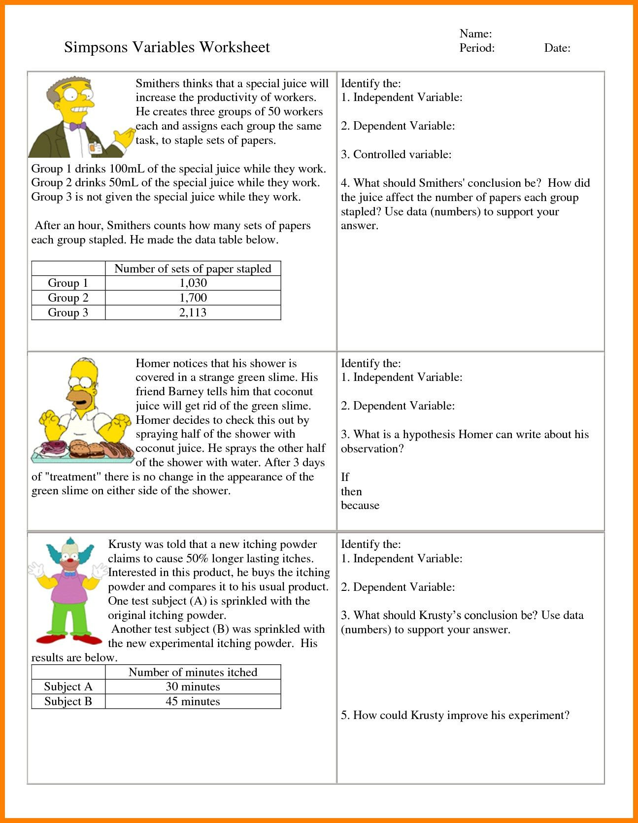 Scientific Method Worksheet High School Weblogs Worksheet Independent and Dependent Variables