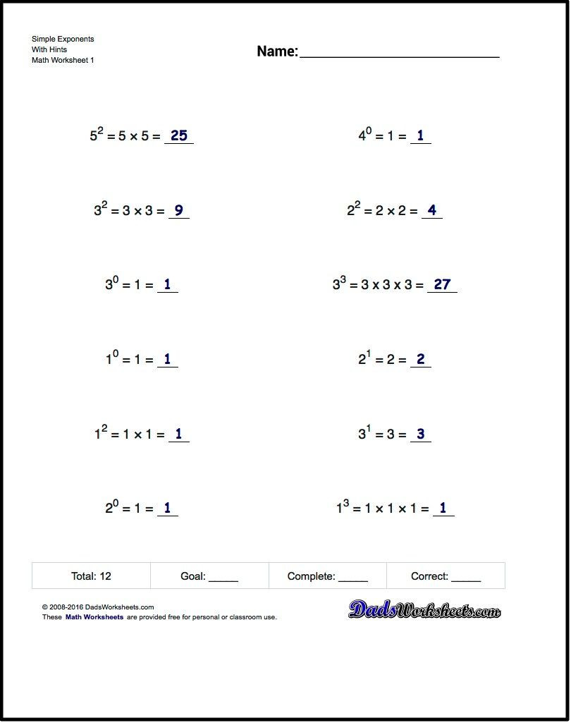 Scientific Notation Worksheet 8th Grade Exponents Worksheets Simple Exponents and Powers Of Ten