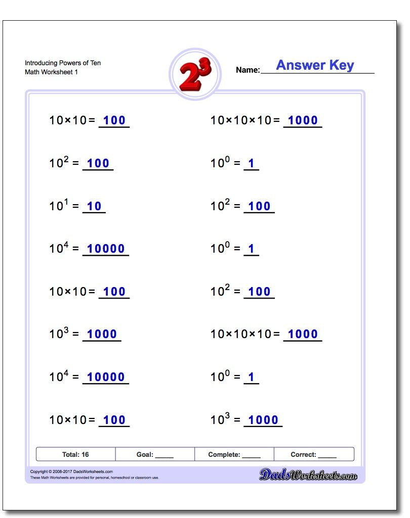 Scientific Notation Worksheet Answer Key Introducing Powers Of Ten Exponents Worksheet Introducing