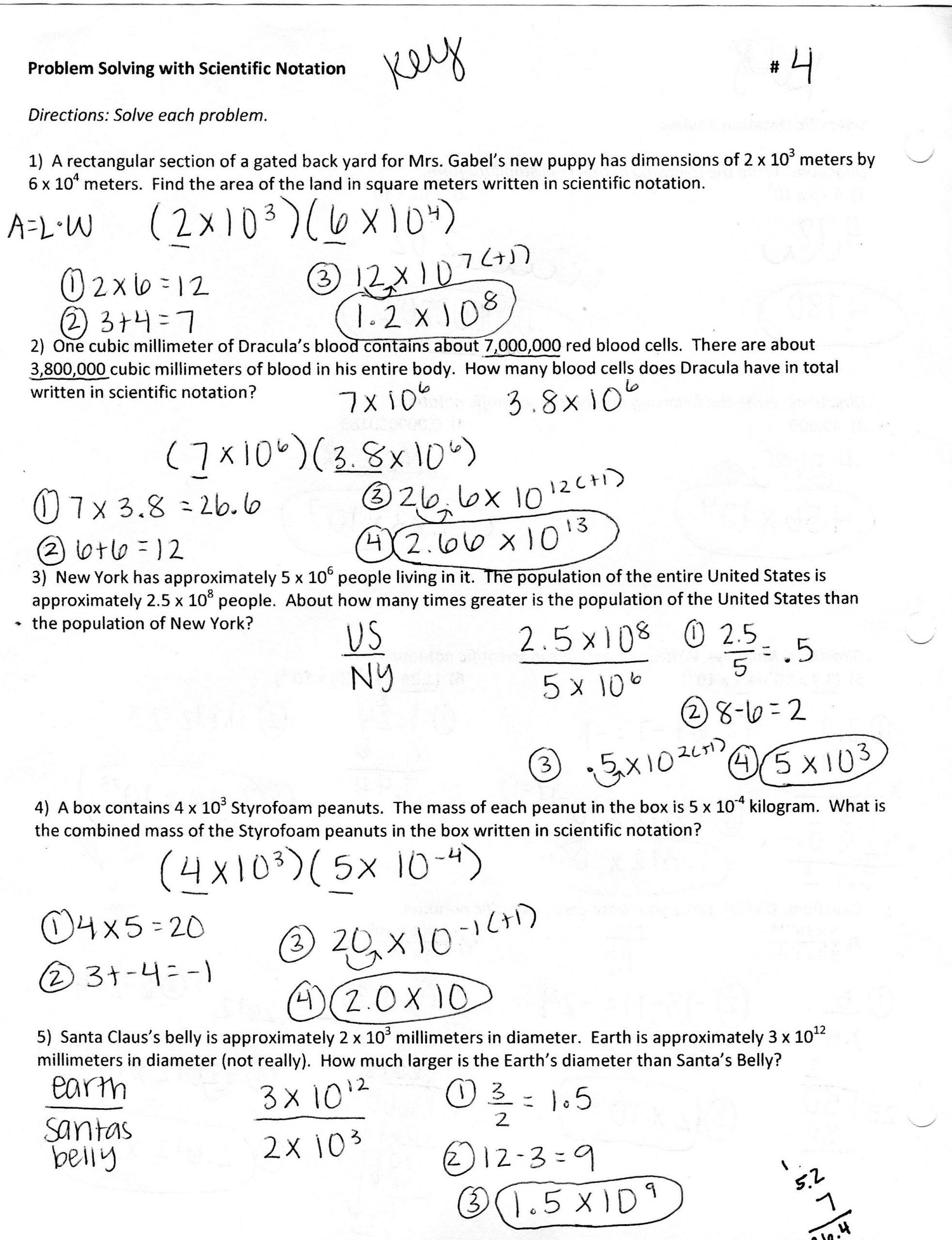 Scientific Notation Worksheet Answer Key Scientific Notation Word Problem Worksheets