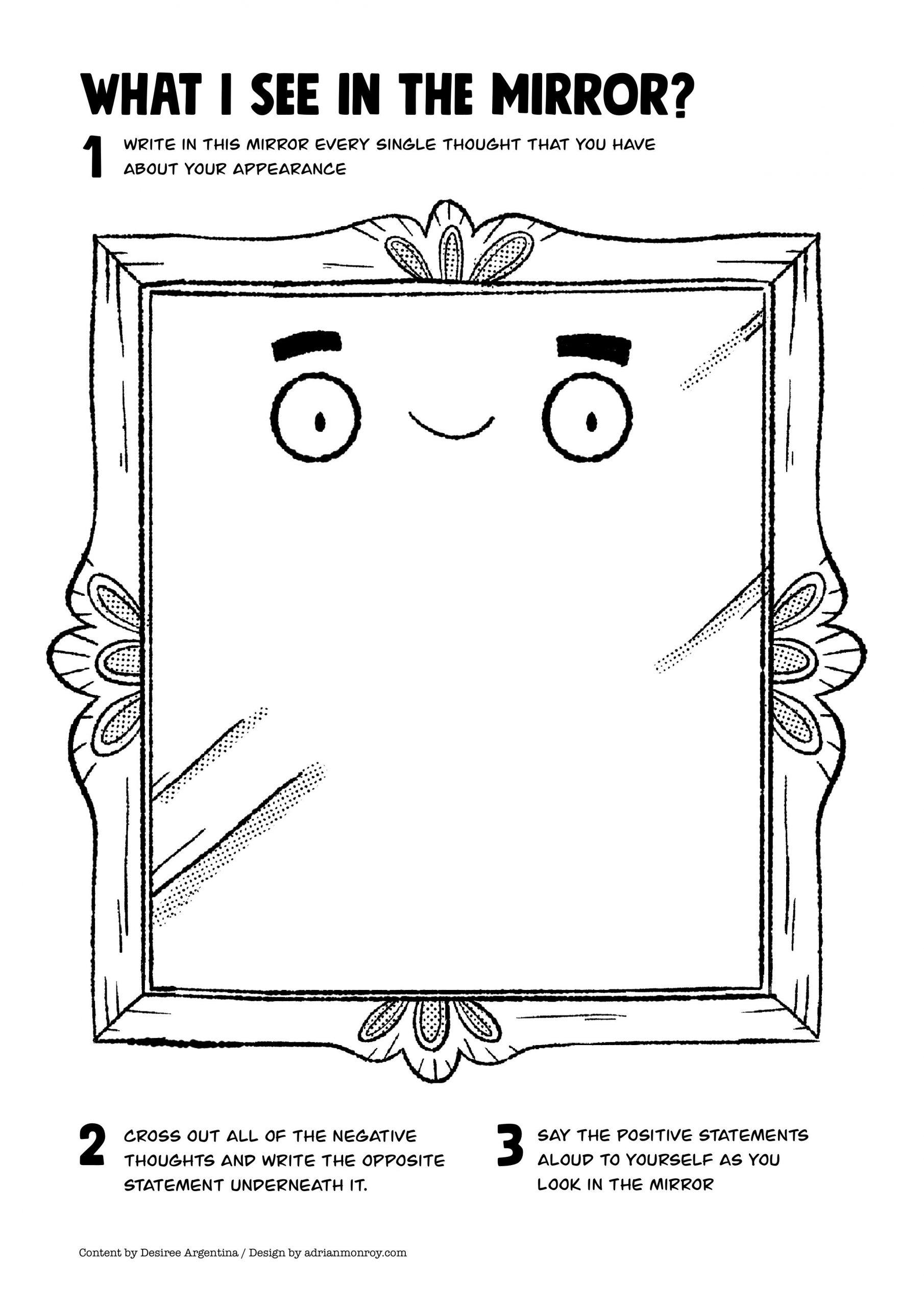 Self Esteem Worksheet for Adults Mirror Self Esteem Worksheet for Kids and Teens Accordingtodes
