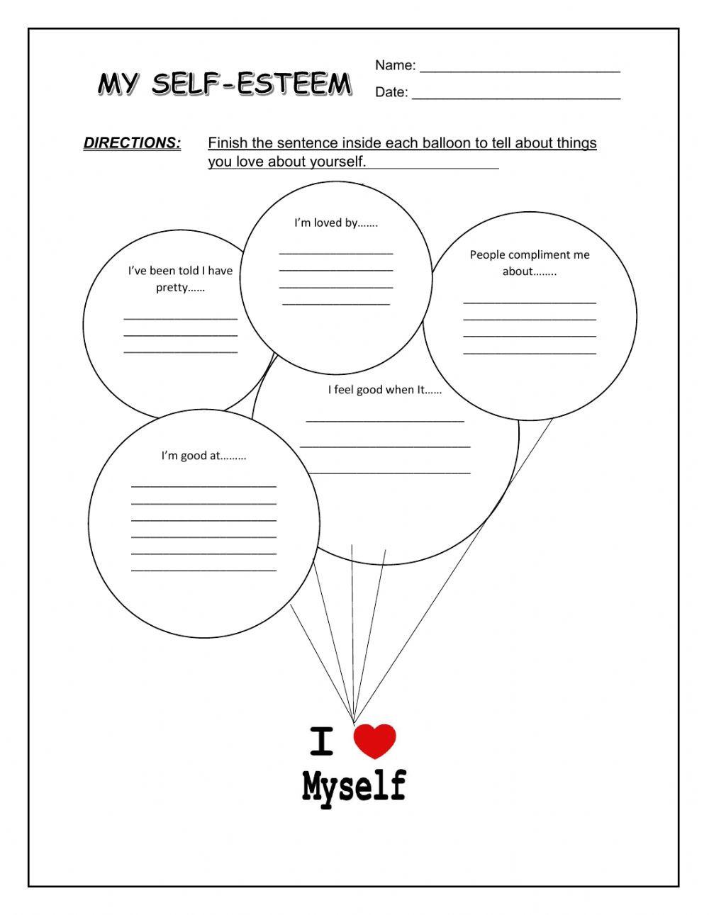 Self Esteem Worksheet for Adults My Self Esteem Interactive Worksheet