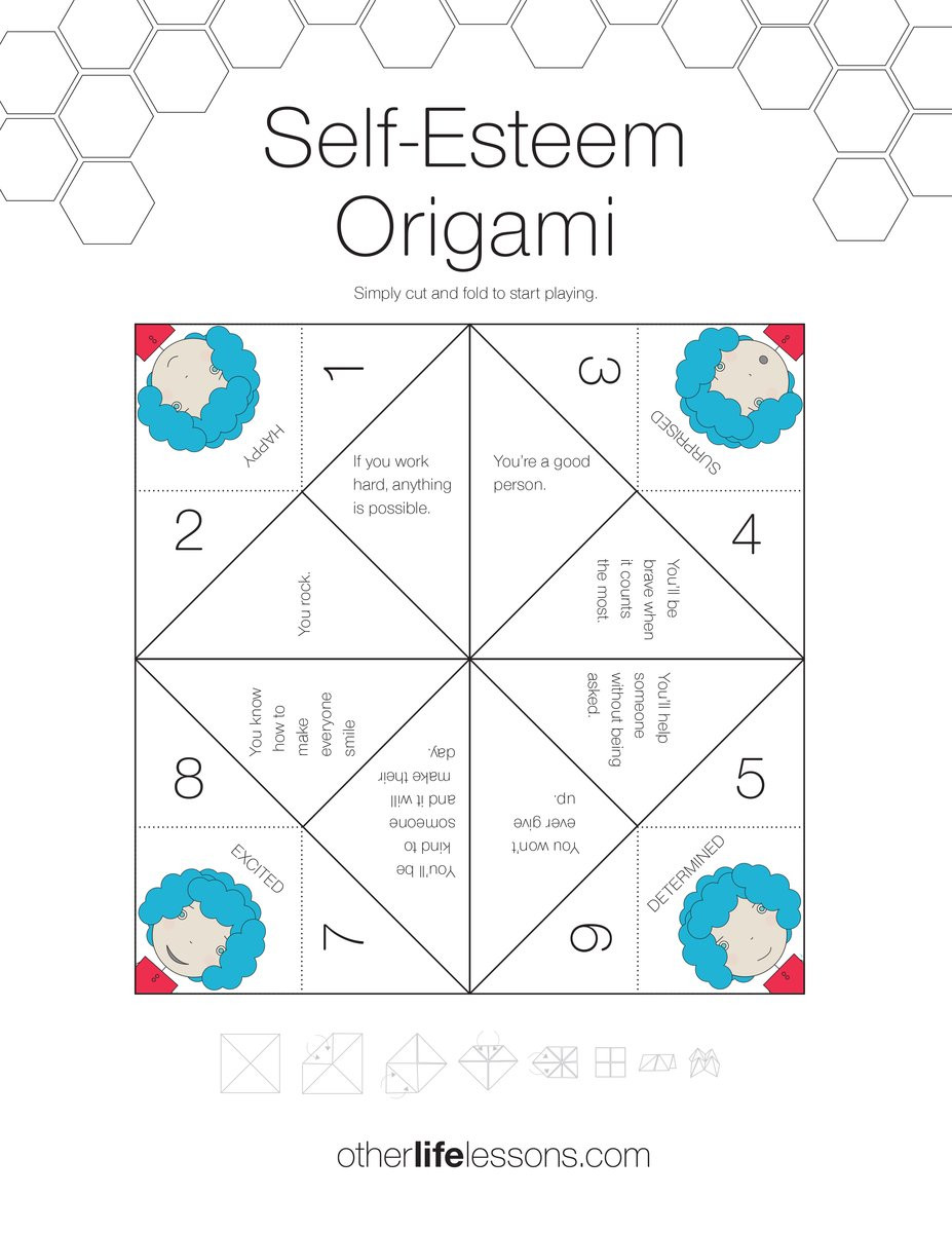 Self Esteem Worksheet for Adults Self Esteem origami Game Free Printable – Other Life Lessons