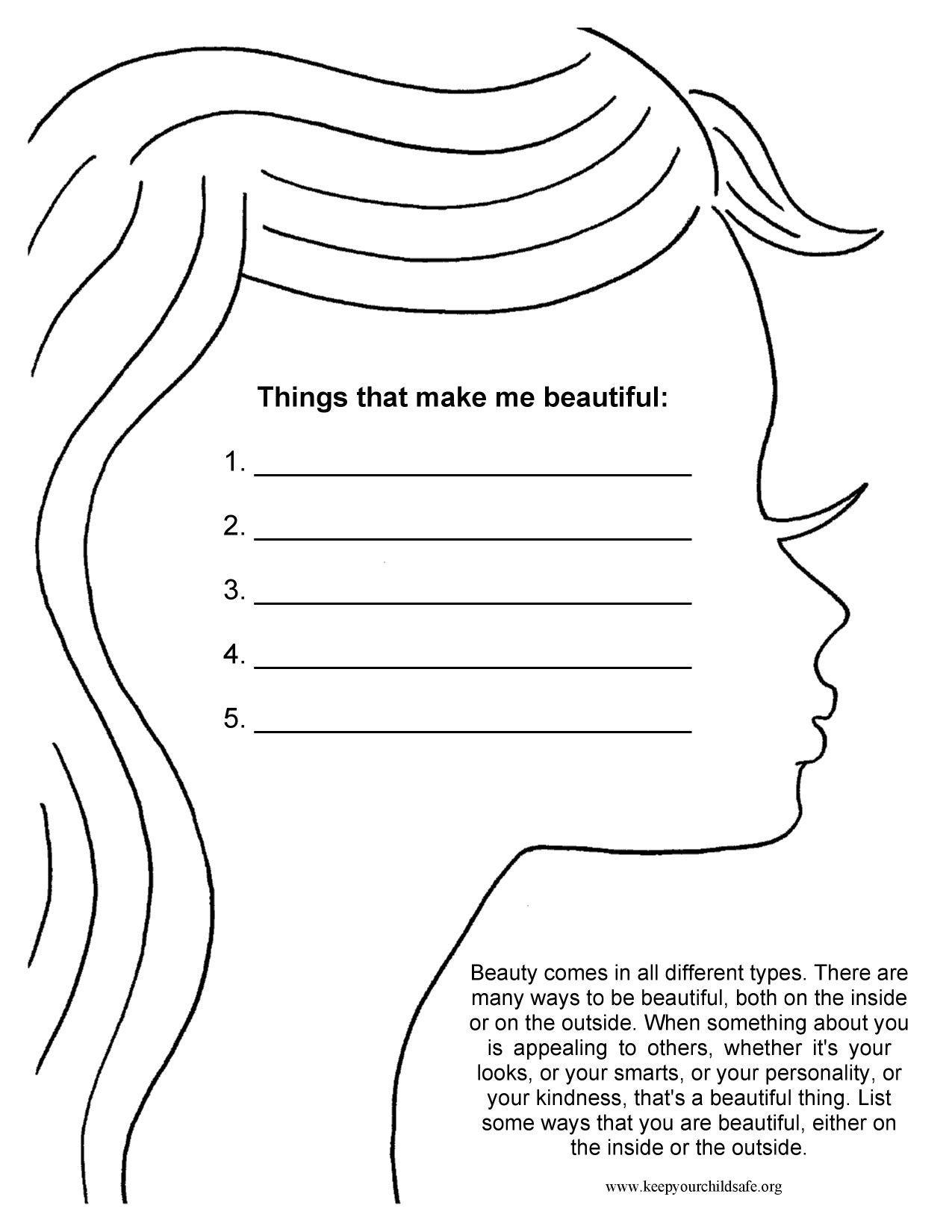 Self Esteem Worksheet for Adults Things that Make Me Beautiful