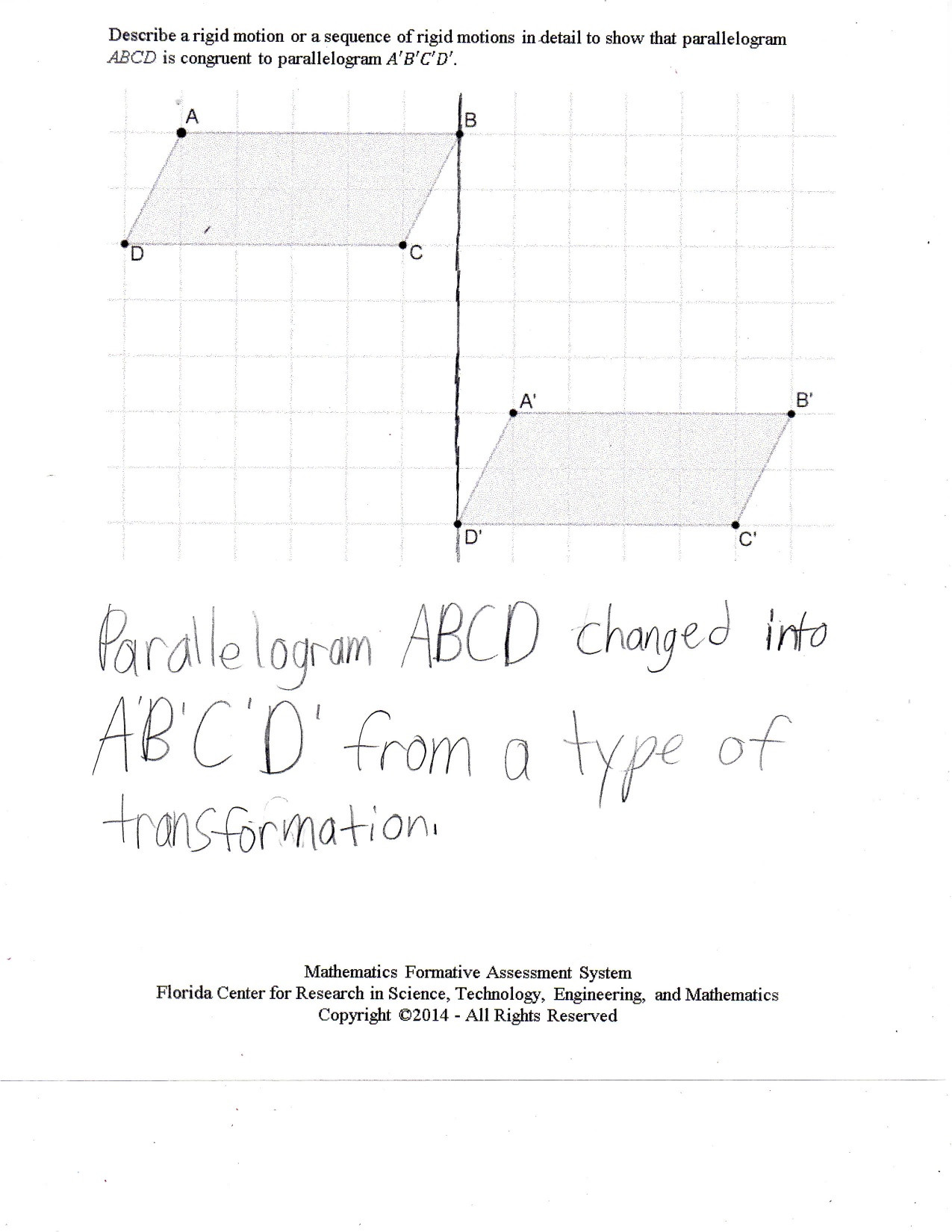 Sequence Of Transformations Worksheet Rigid Motion 1 Students are asked to Describe A Rigid