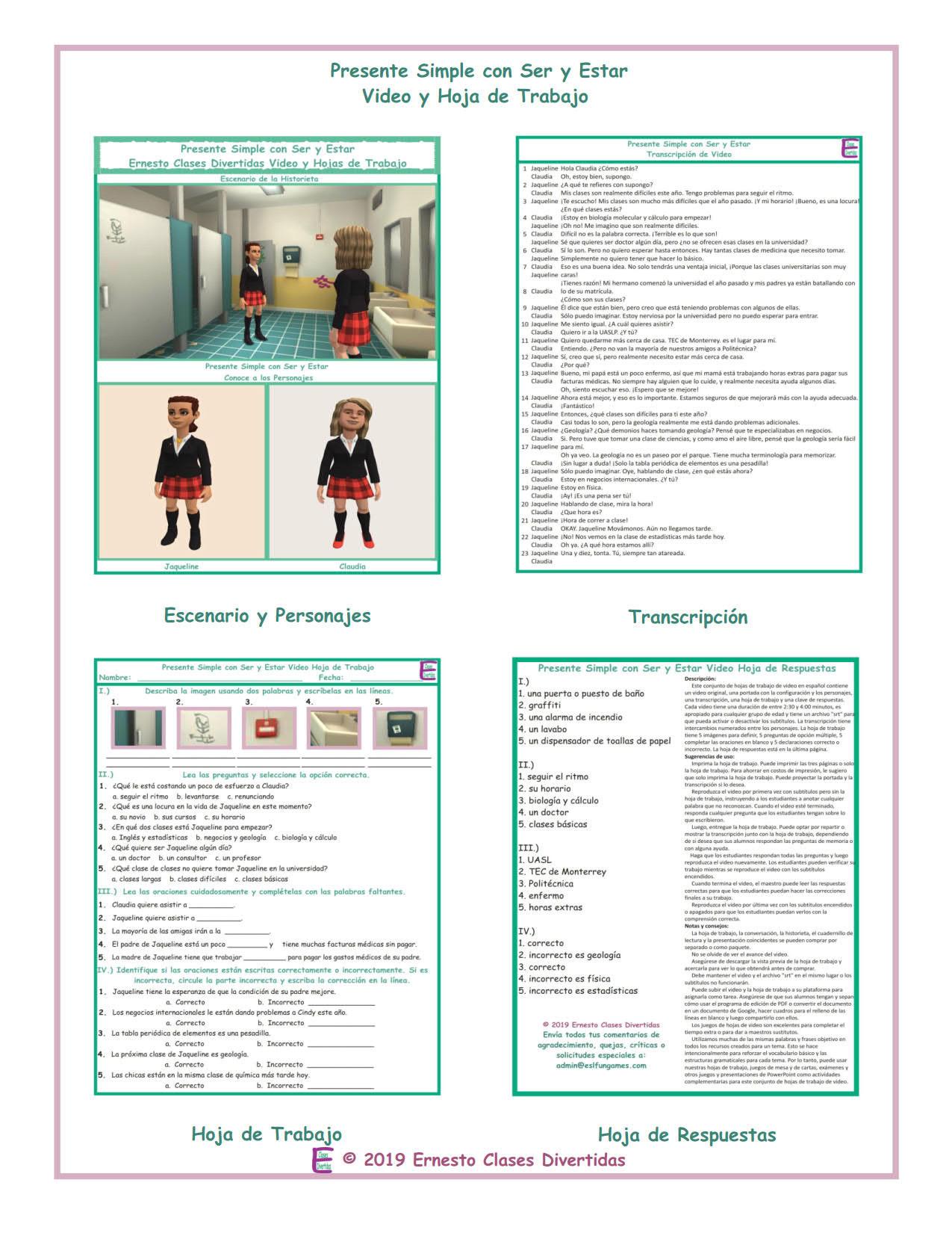 Ser Estar Worksheet Answers Present Simple Ser Estar Spanish Video and Worksheet