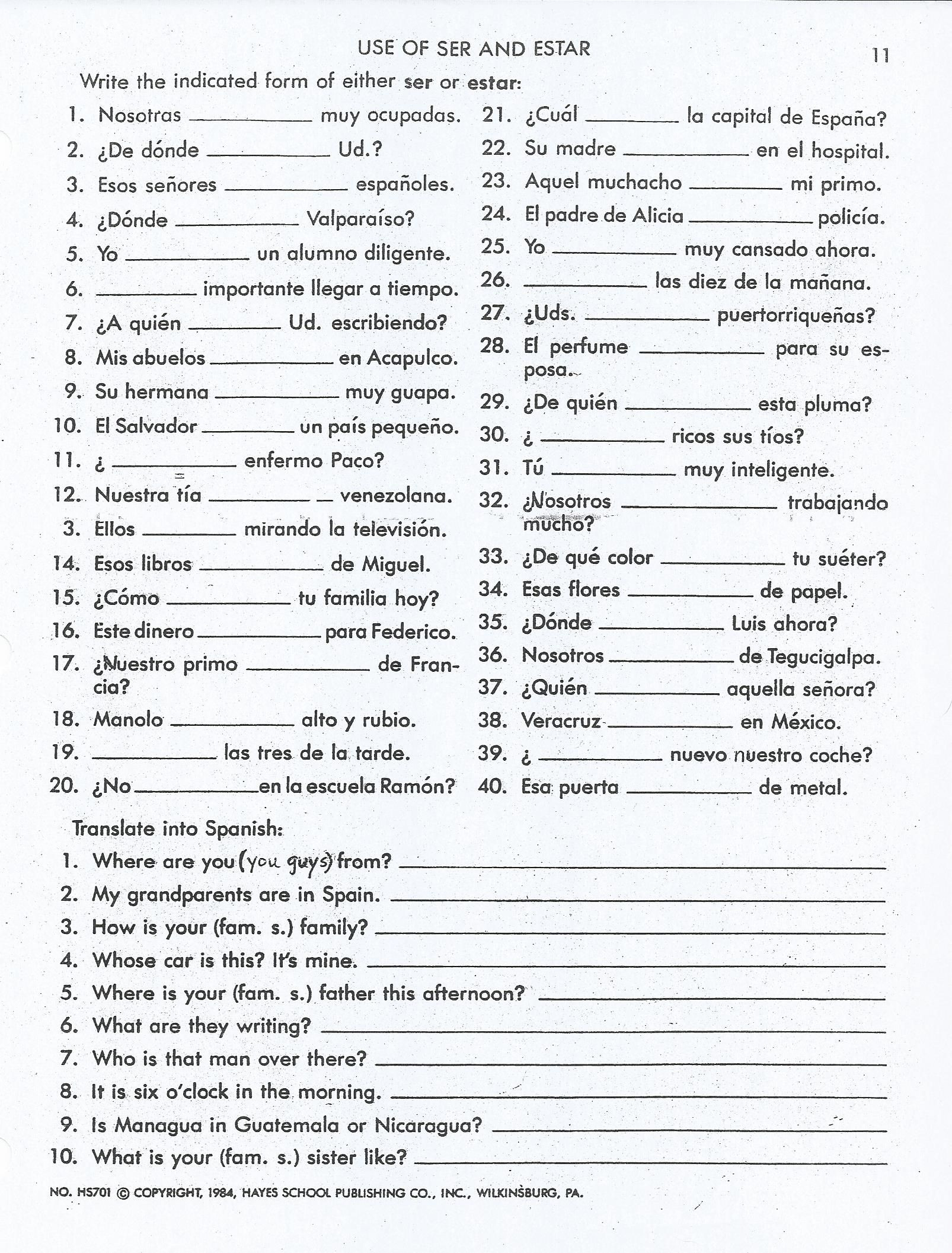 Ser Estar Worksheet Answers Ser Vs Estar Activities Worksheet Google Search