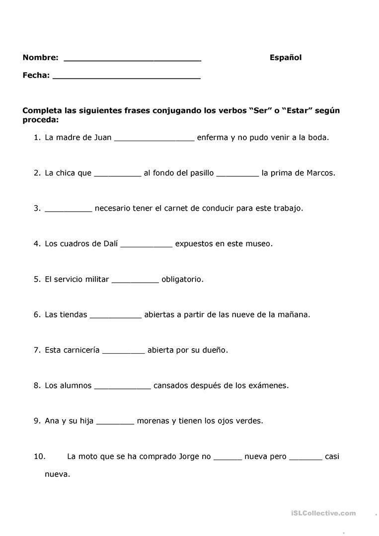 Ser Estar Worksheet Answers Verbo Ser O Estar English Esl Worksheets for Distance