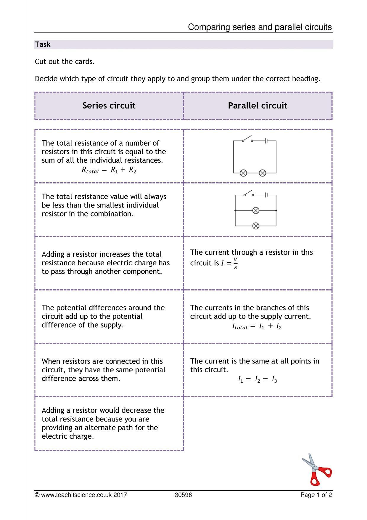 Series and Parallel Circuits Worksheet Ll 6816] Difference Between Series and Parallel Circuits