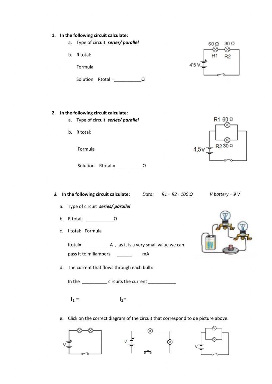 Series and Parallel Circuits Worksheet Series and Parallel Circuits Interactive Worksheet