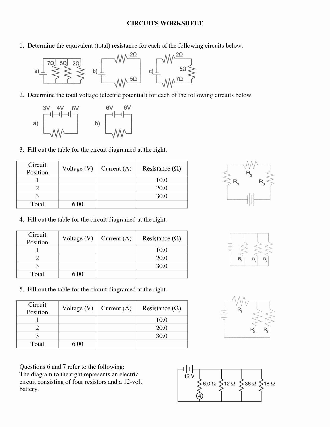 Series and Parallel Circuits Worksheet Series and Parallel Circuits Worksheet Elegant Series