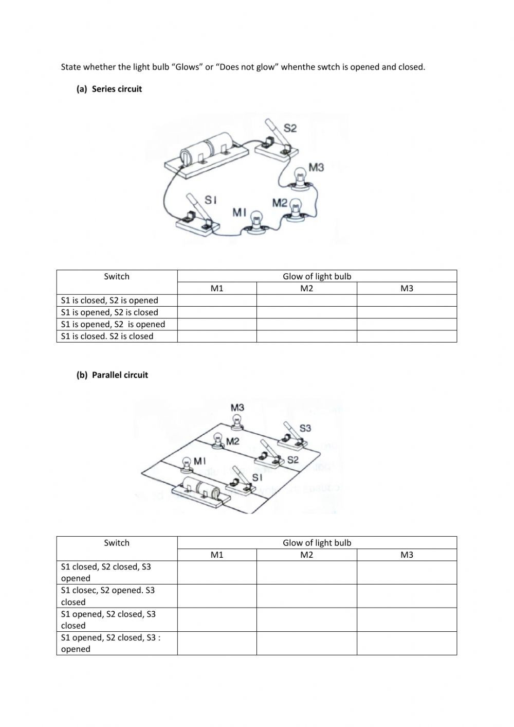 Series and Parallel Circuits Worksheet Year 5 Electricity Interactive Worksheet