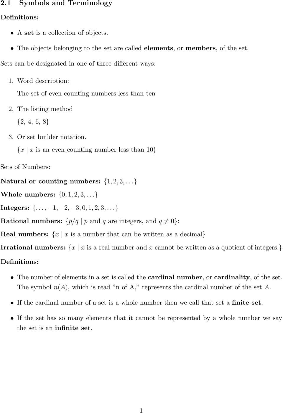 Set Builder Notation Worksheet 2 1 Symbols and Terminology Pdf Free Download
