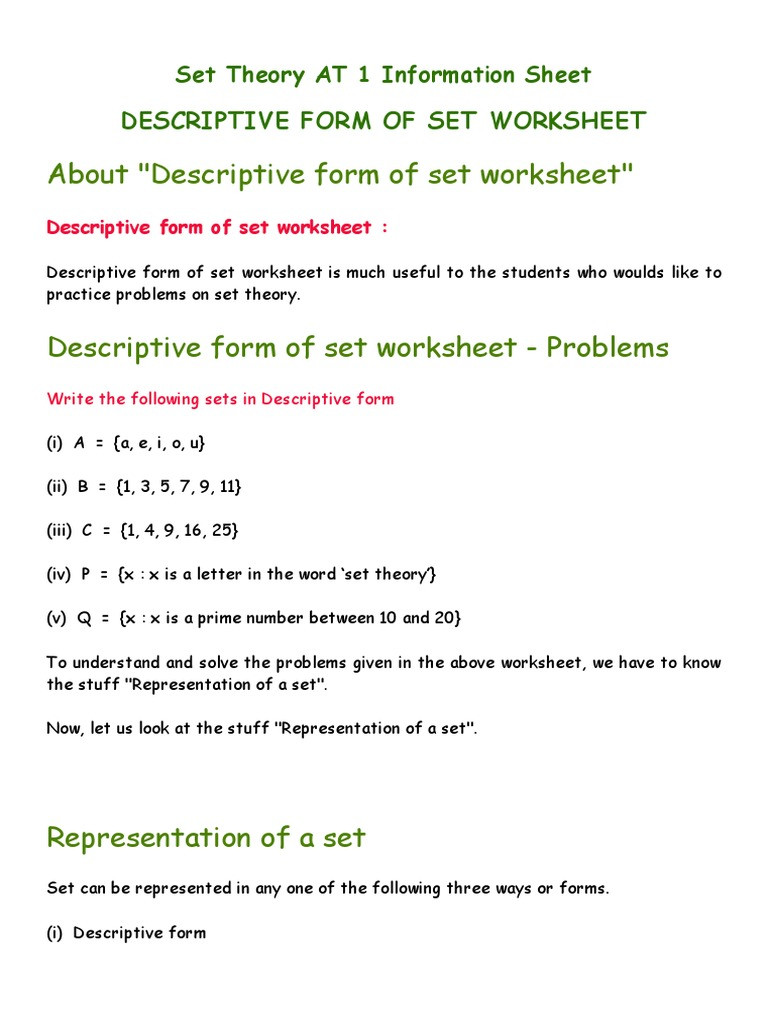 Set Builder Notation Worksheet Set theory attainment Tar