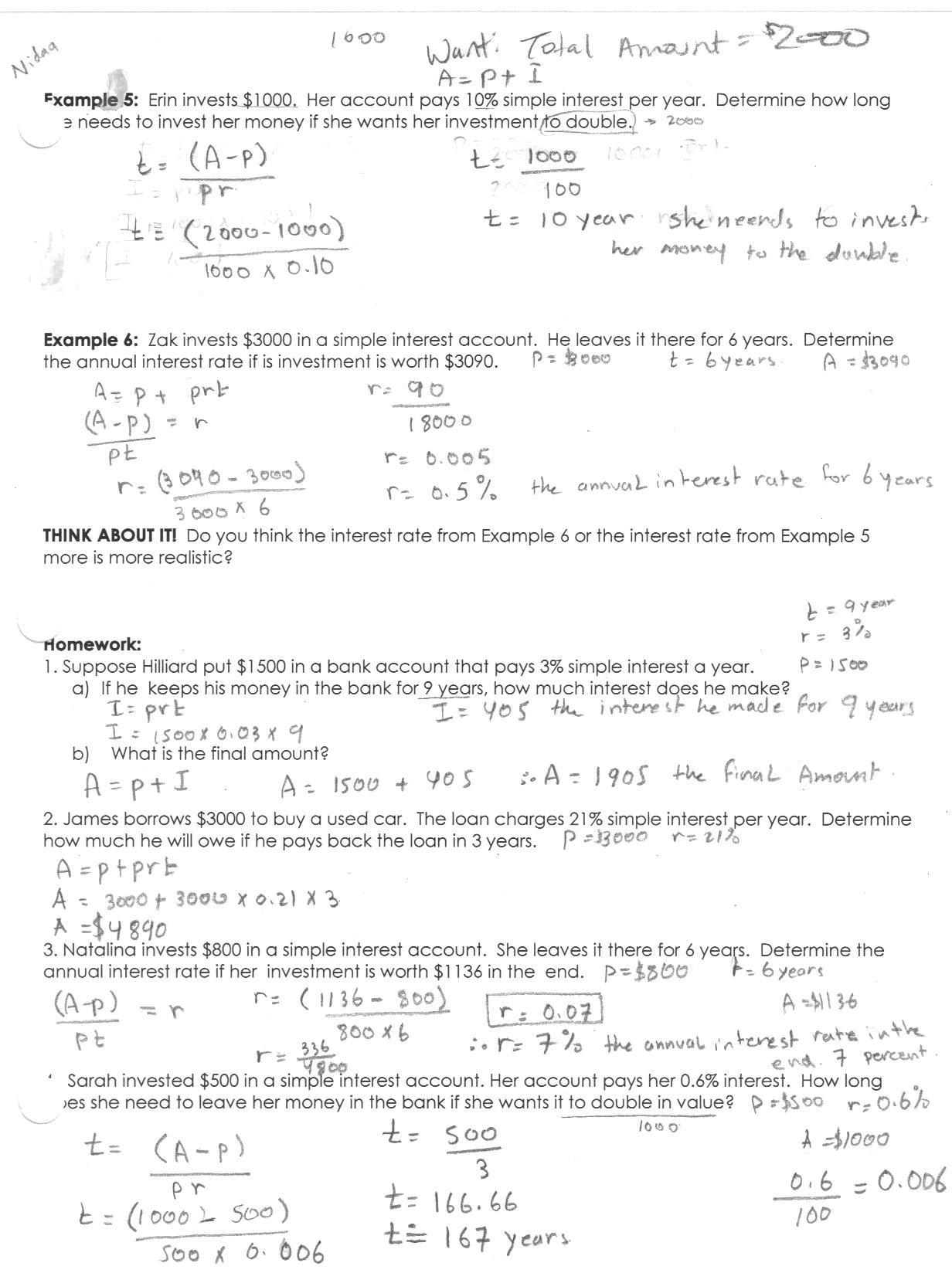 Simple and Compound Interest Worksheet Class Handouts Unit 5 Thangaraj Math