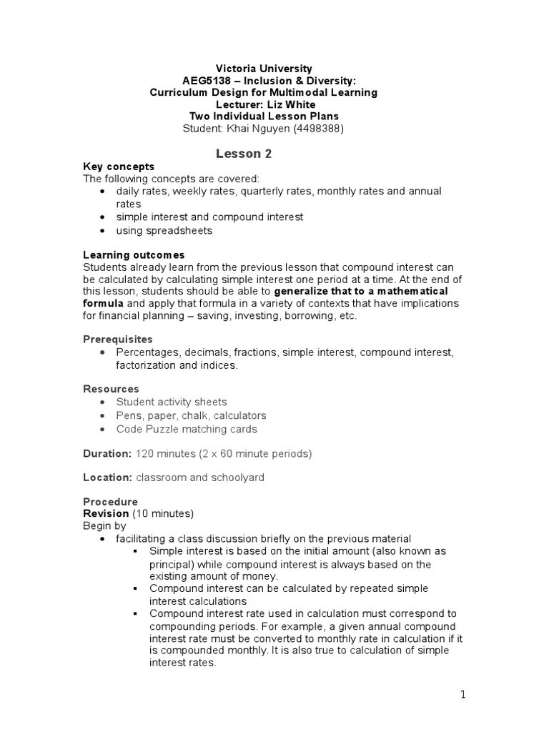 Simple and Compound Interest Worksheet Khai Lesson Plan 2 Pound Interest