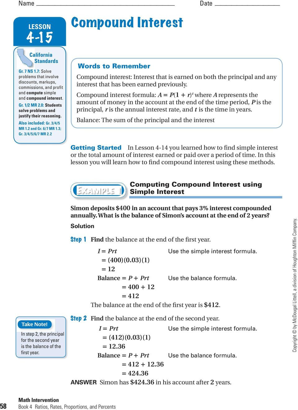 Simple and Compound Interest Worksheet Lesson Plan Simple and Pound Interest Pdf Free Download