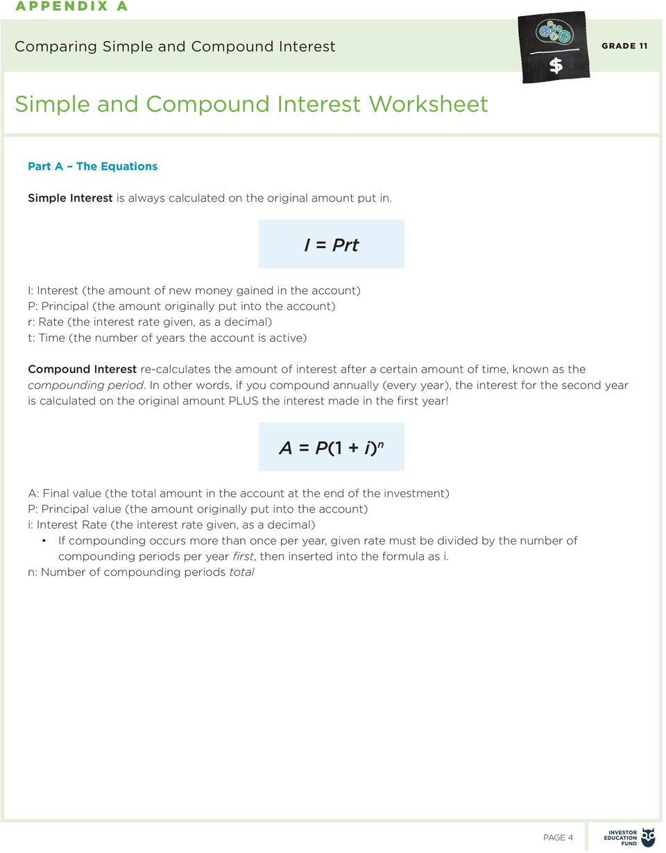 Simple and Compound Interest Worksheet Paring Simple and Pound Interest Pdf Free Download
