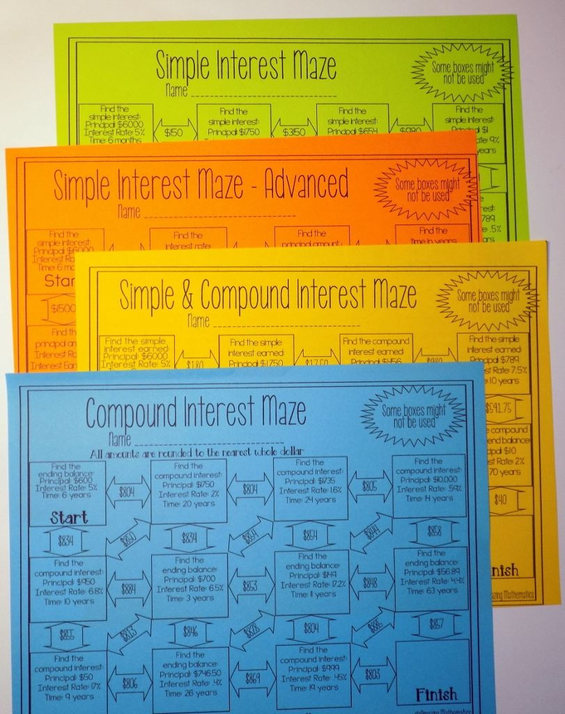 Simple and Compound Interest Worksheet Simple and Pound Interest Activities Bundle 5 Mazes and
