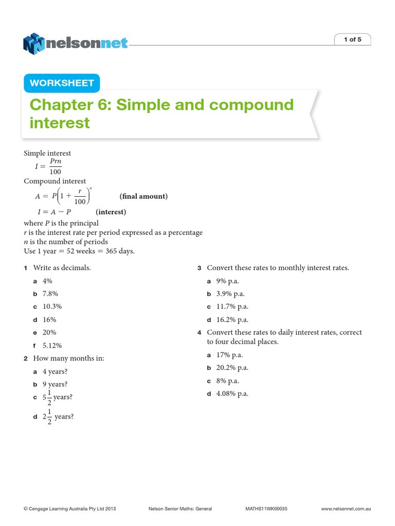Simple and Compound Interest Worksheet Simple and Pound Interest Pound Interest