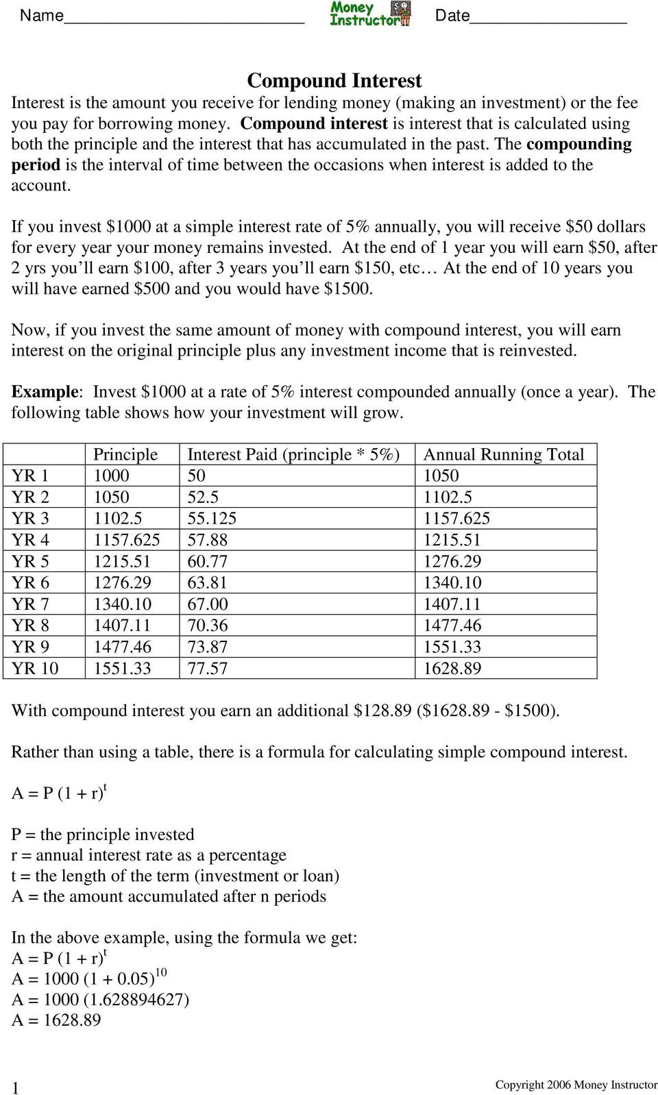 Simple and Compound Interest Worksheet Simple and Pound Interest Worksheet Answers Nidecmege