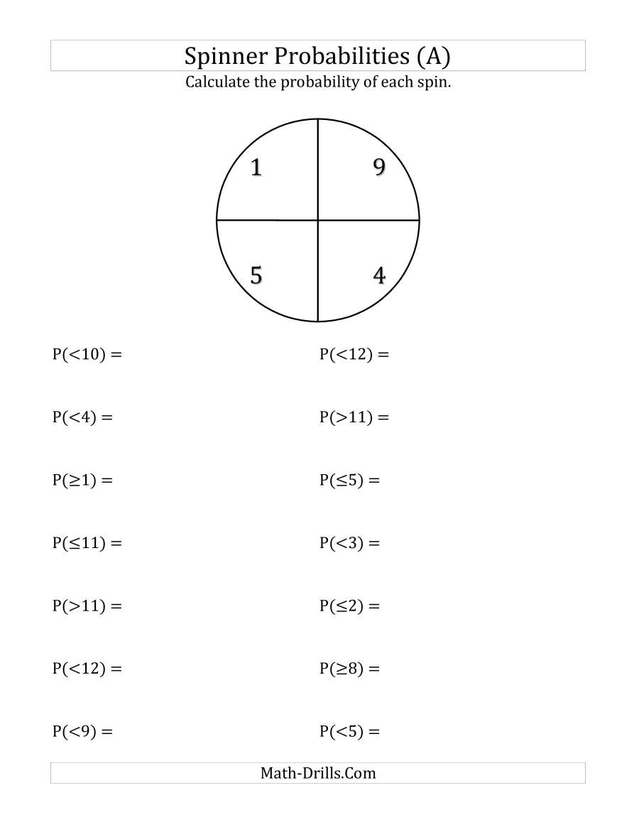 Simple Probability Worksheet Pdf 4 Section Spinner Probabilities A
