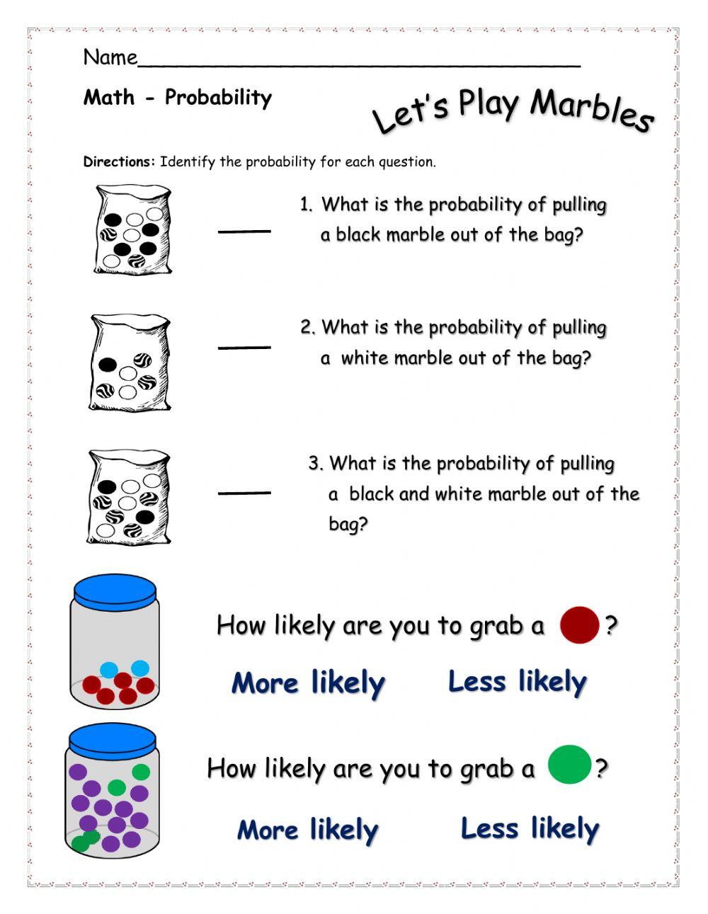 Simple Probability Worksheet Pdf Probability Interactive Worksheet