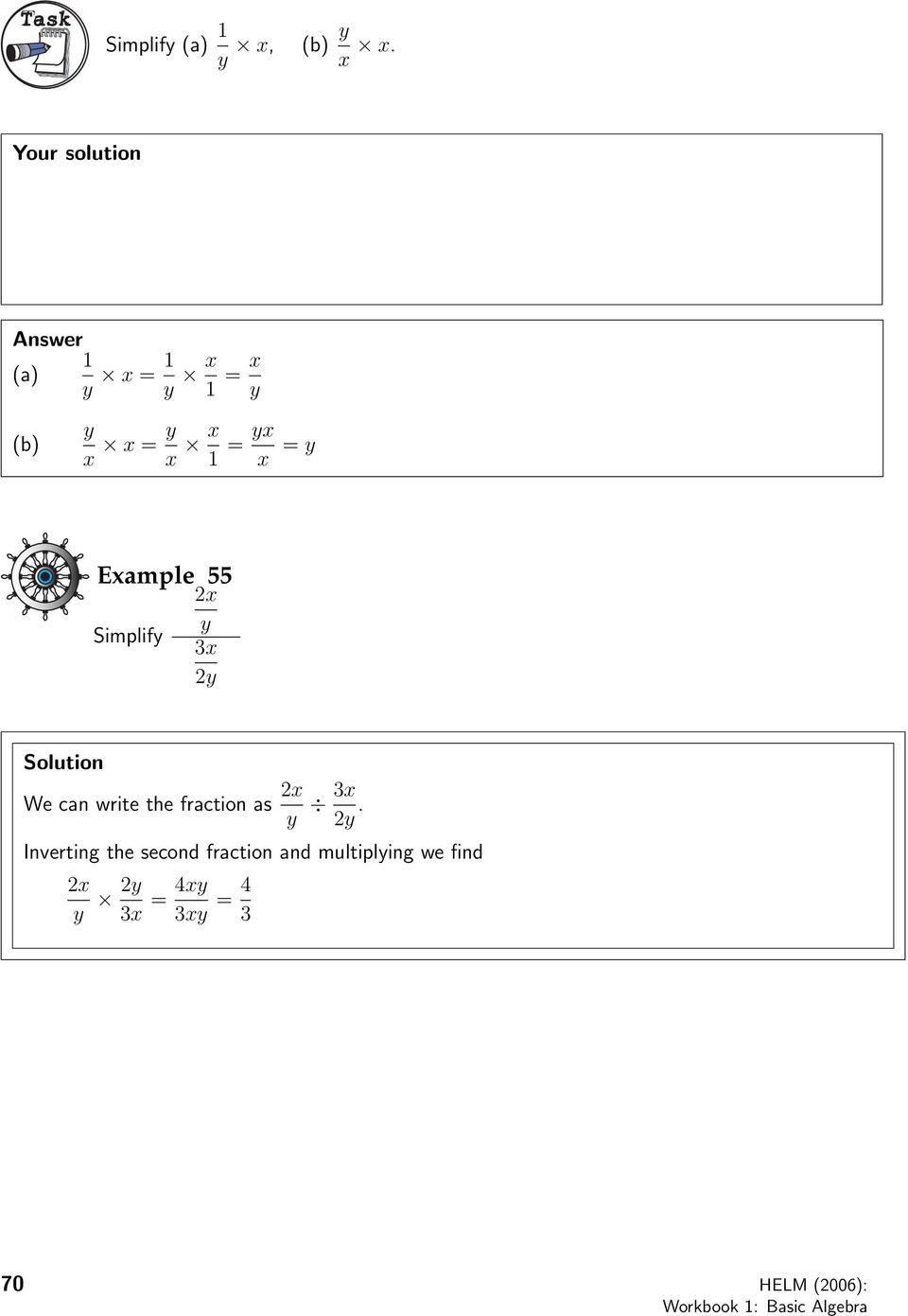 Simplifying Algebraic Fractions Worksheet 1 4 Arithmetic Of Algebraic Fractions Introduction