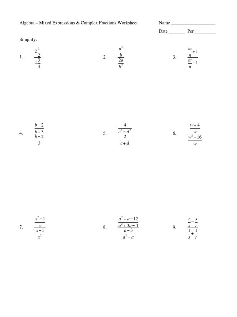Simplifying Complex Fractions Worksheet Alg Mixed Expressions & Plex Fractions Worksheet