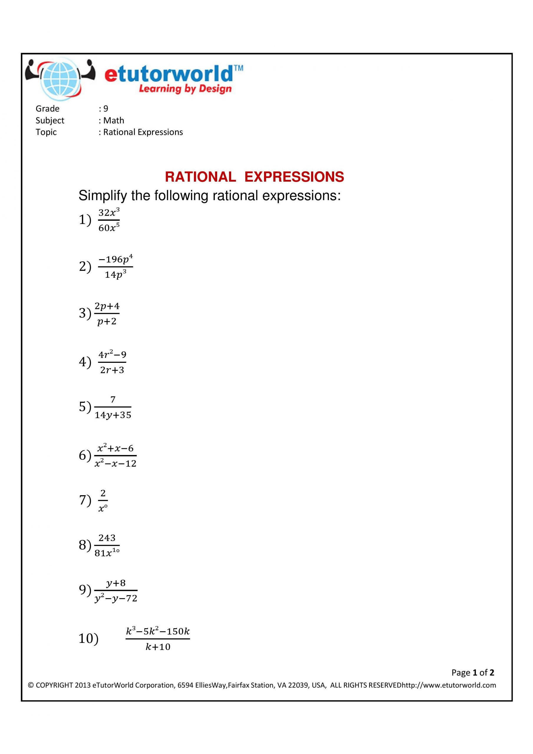Simplifying Complex Fractions Worksheet Math Practice Sheet for the topic Simplifying Rational