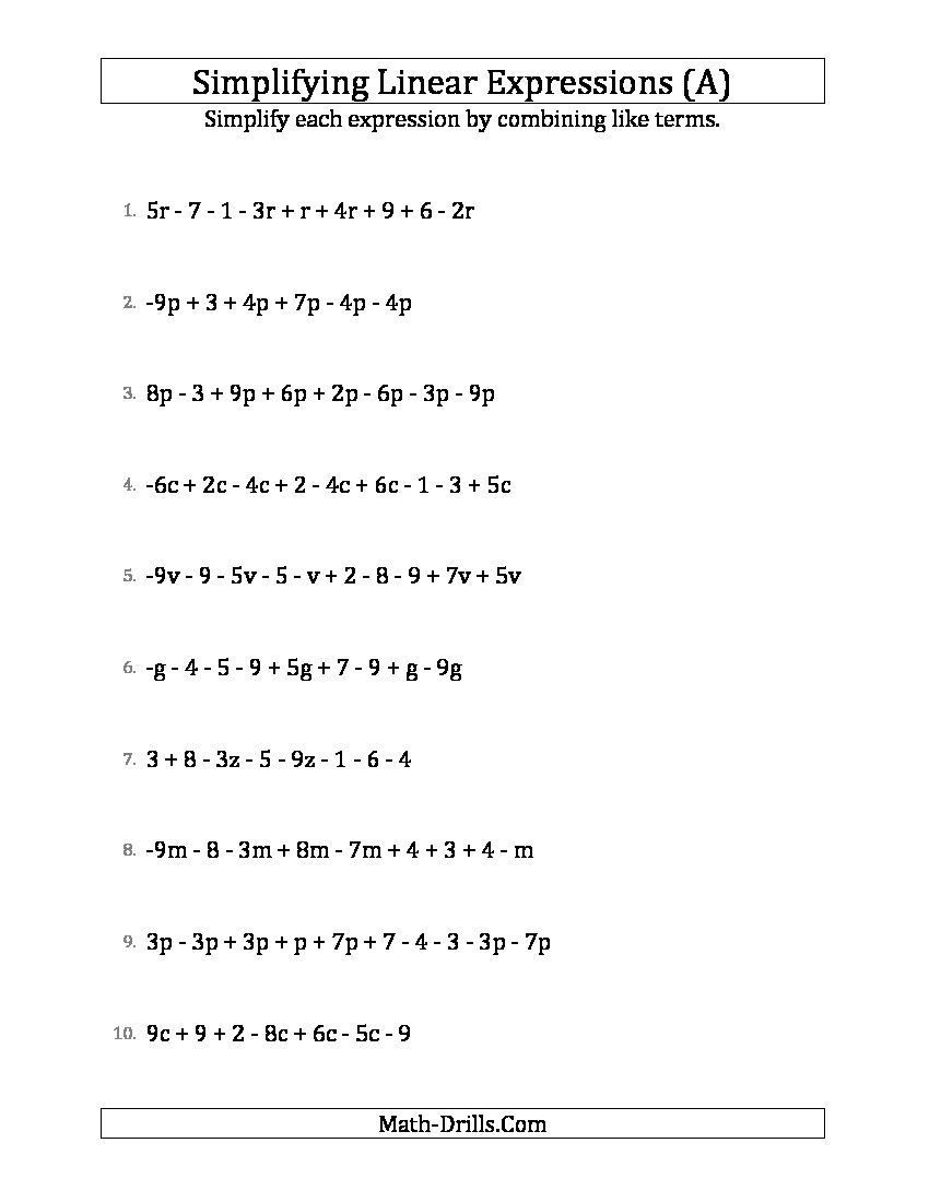 Simplifying Complex Fractions Worksheet Simplifying Linear Expressions with 6 to 10 Terms A
