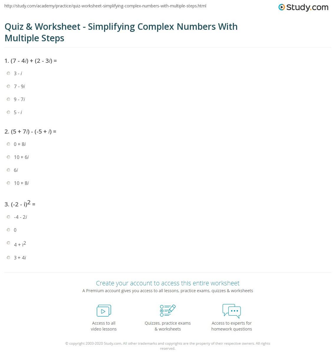 Simplifying Complex Numbers Worksheet Quiz & Worksheet Simplifying Plex Numbers with Multiple