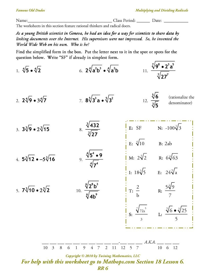 Simplifying Radical Expressions Worksheet Answers Image From