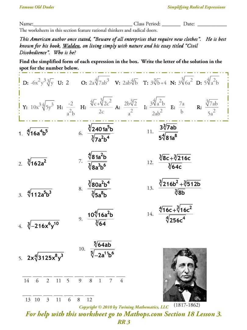 Simplifying Radical Expressions Worksheet Answers Radical Functions Worksheet – Colabug