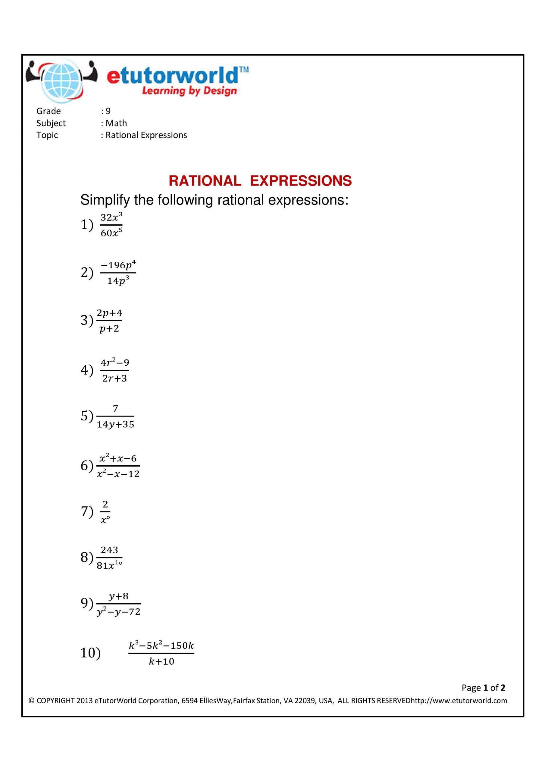 Simplifying Radicals Practice Worksheet Math Practice Sheet for the topic Simplifying Rational