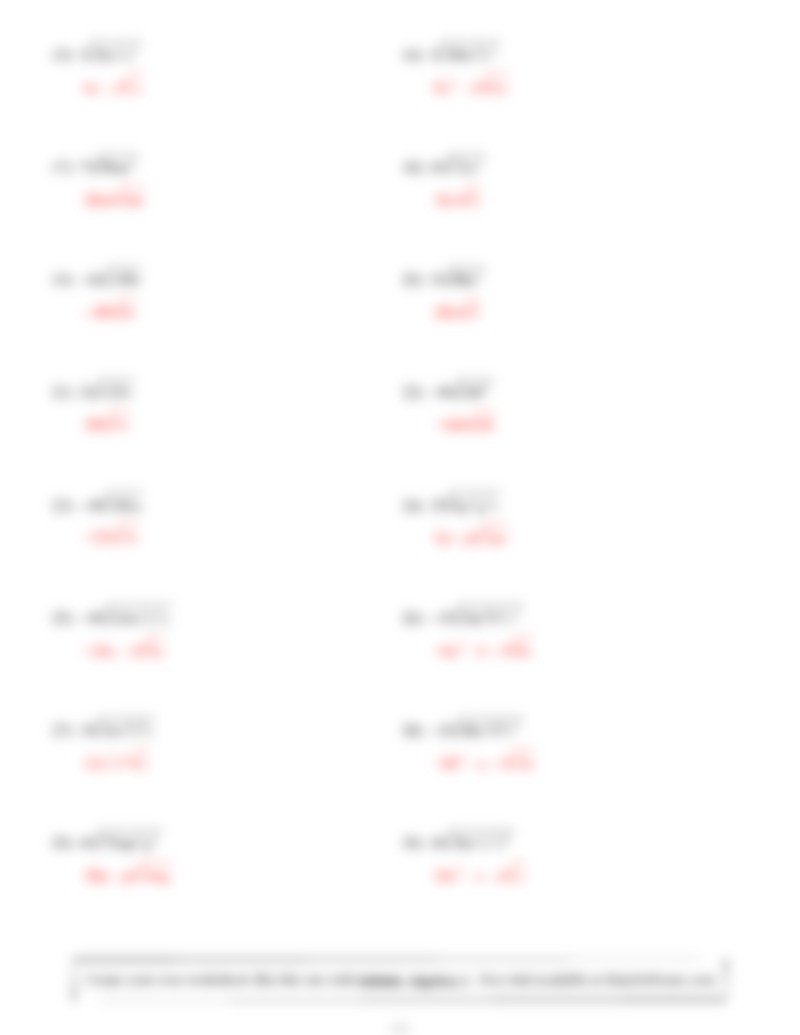 Simplifying Radicals Worksheet 1 100 [ Algebra 2 Printable Worksheets ]