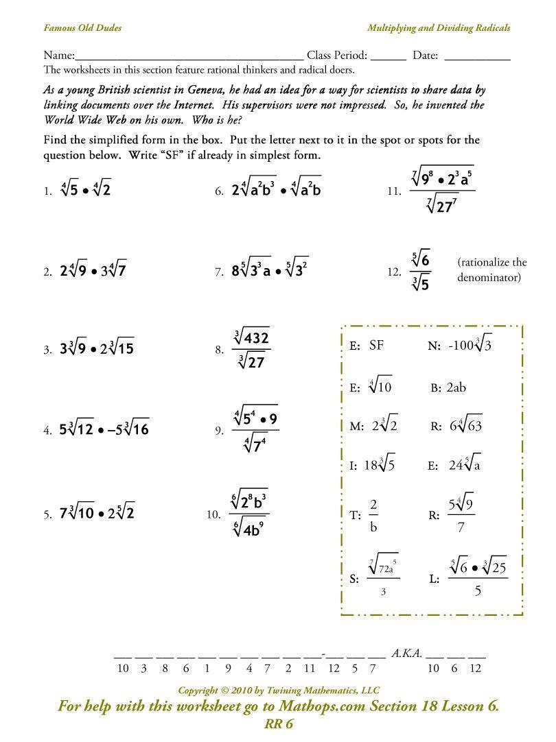 Simplifying Radicals Worksheet 1 Image From