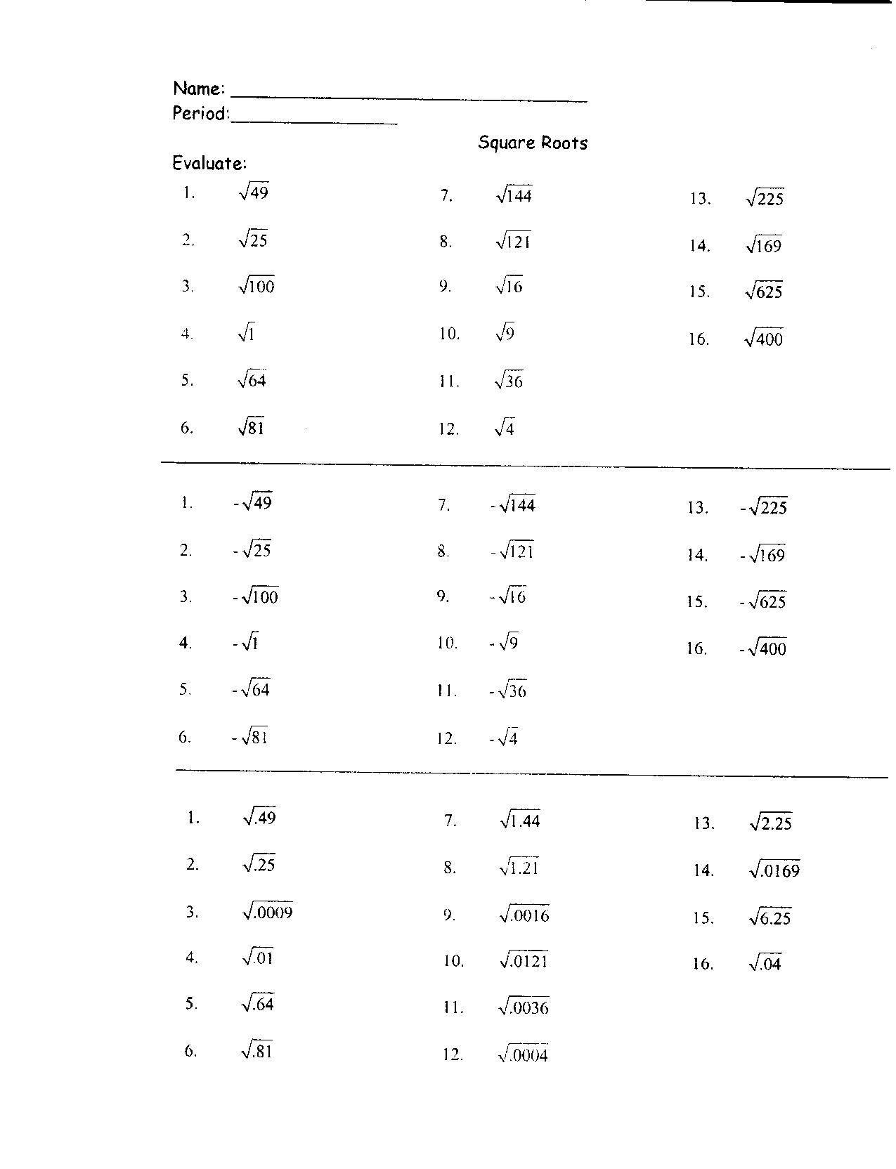 Simplifying Radicals Worksheet 1 Simplifying Radicals Worksheet with Answers