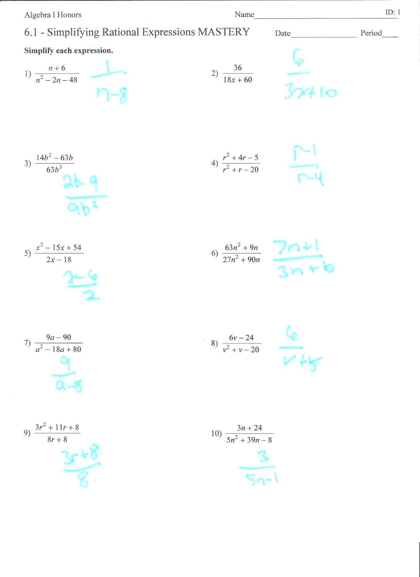 Simplifying Radicals Worksheet 1 Simplifying Rational Expressions Worksheet