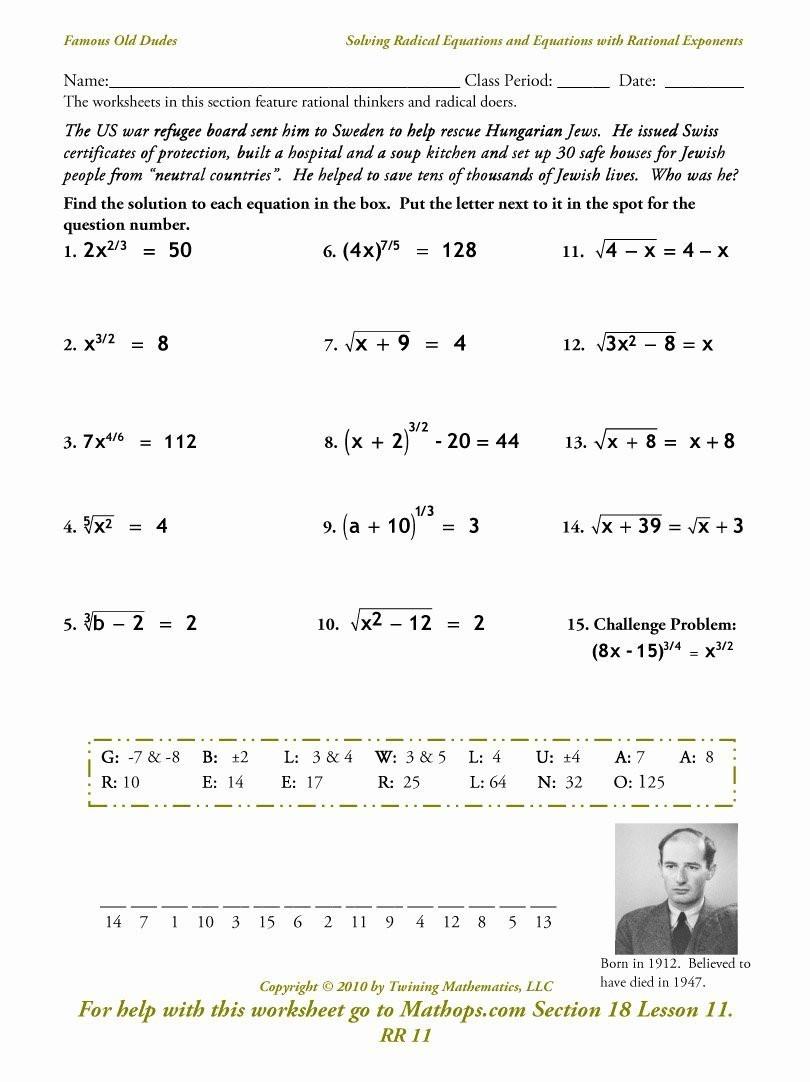 Simplifying Radicals Worksheet 1 solving Radical Equations Worksheet