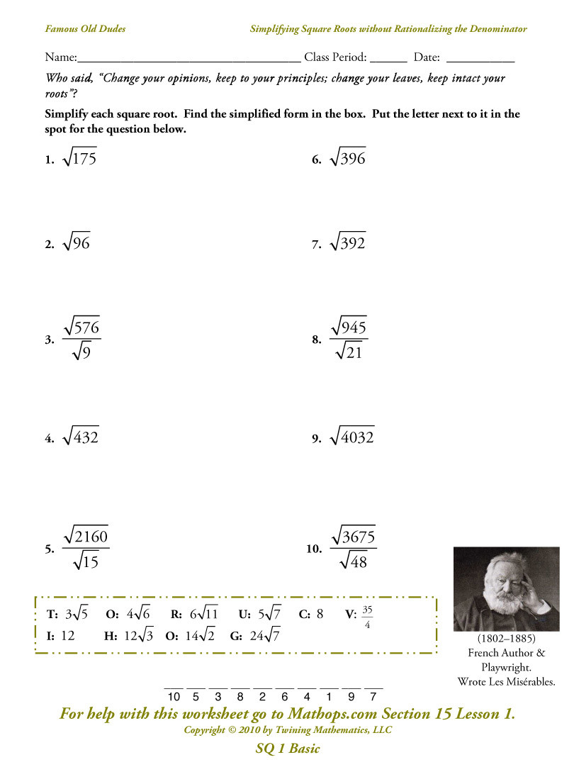 Simplifying Radicals Worksheet Answer Key Awesome Simplify Square Root Worksheet