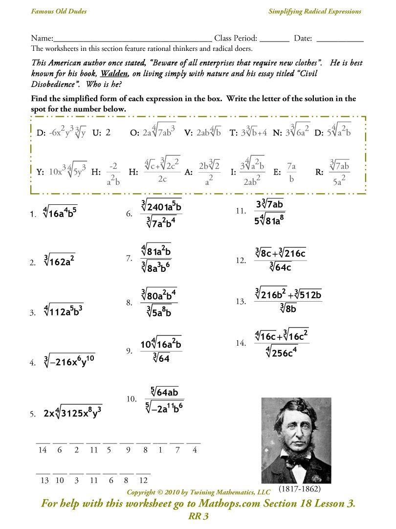 Simplifying Radicals Worksheet Pdf Image From
